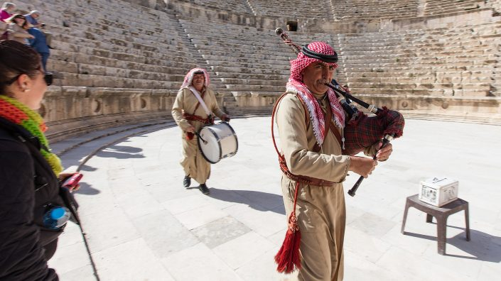 Bedouins playing the bagpipes and drum, North Theater, Jerash, Jordan
