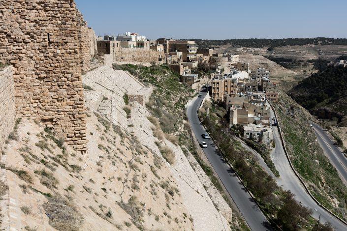View of the city of Karak from Kerak Castle, Crusader Castle, Al-Karak, Jordan