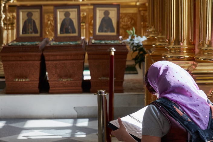 Reading girl, Russian Orthodox Monastery in the Solovetsky Islands